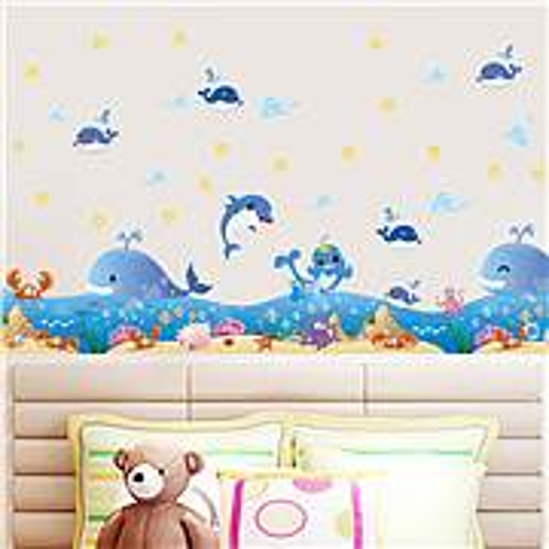 博采墨斗鱼7584欢乐海洋儿童卡通墙贴画(张)