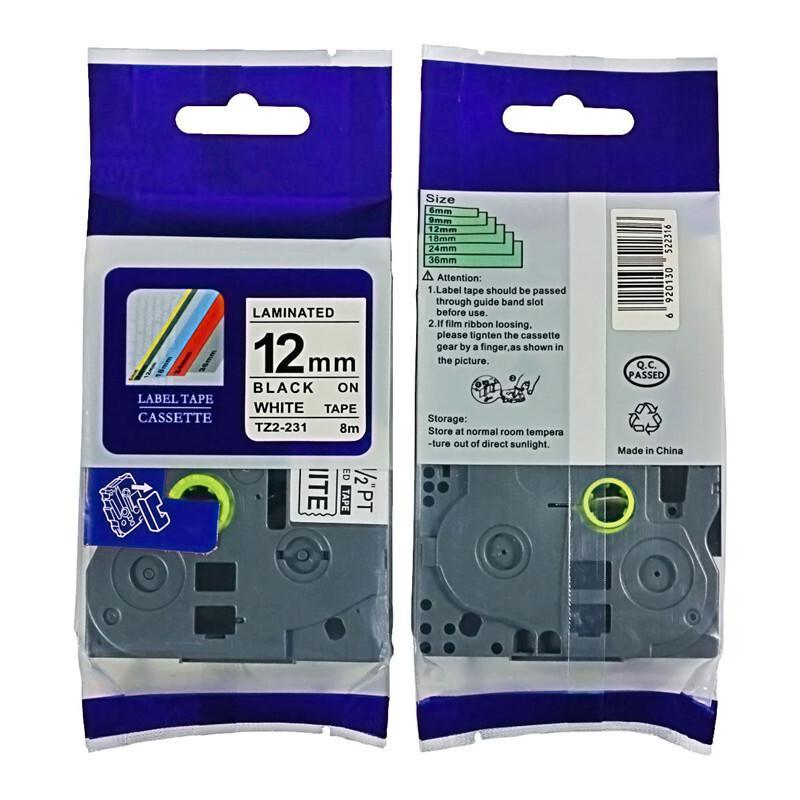 普贴TZ2-231标签纸12MM白底黑字(包)