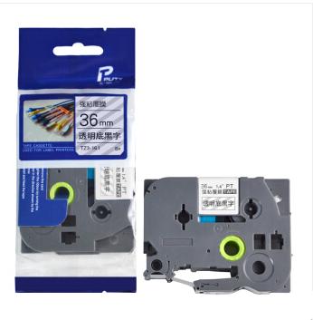 普贴TZ-161 标签打印机色带 适用兄弟标签机透明底黑字36mm(个)