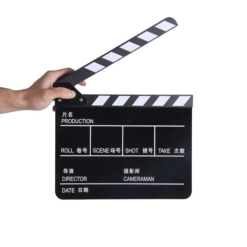 earlymen 电影场记板 磁铁打板 开拍板 导演板 30*24cm黑白条纹中英文黑色 打板器 场景版 标记版 送笔 白板笔可擦拭