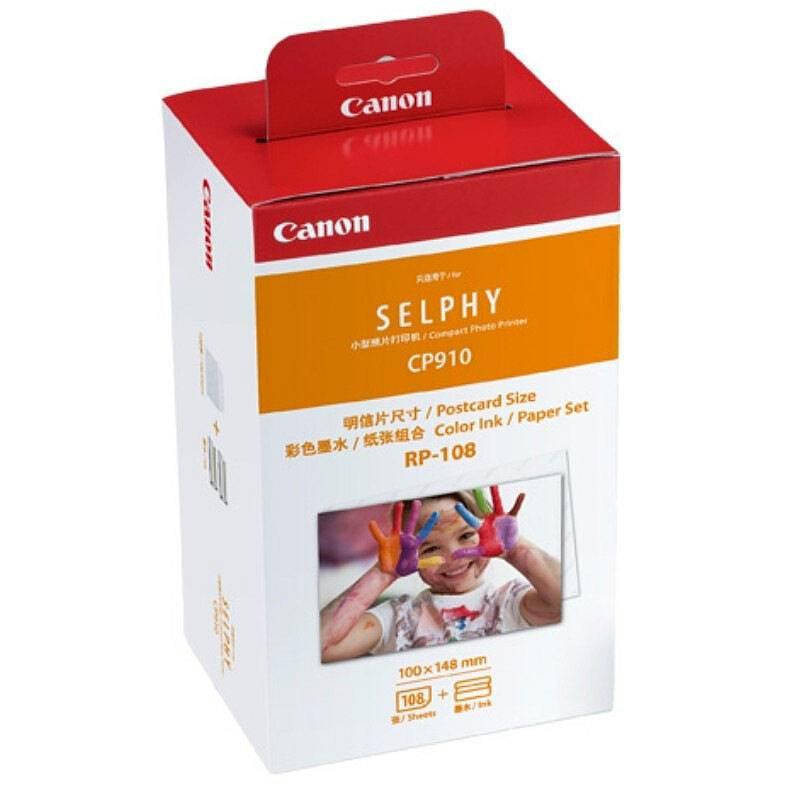 佳能 RP-108 (CP910专供)彩色墨水/纸张组合 108张/盒 (盒) 彩色(适用于CP1300/CP1200/CP910)(佳能CP910,CP820 包装内容盒装里面为2个色带+108张相纸(18张*6包))