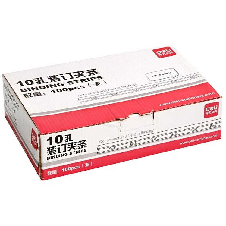 得力 3828 10孔装订夹条 300*12.5mm 100支/盒 (单位:盒) 黑