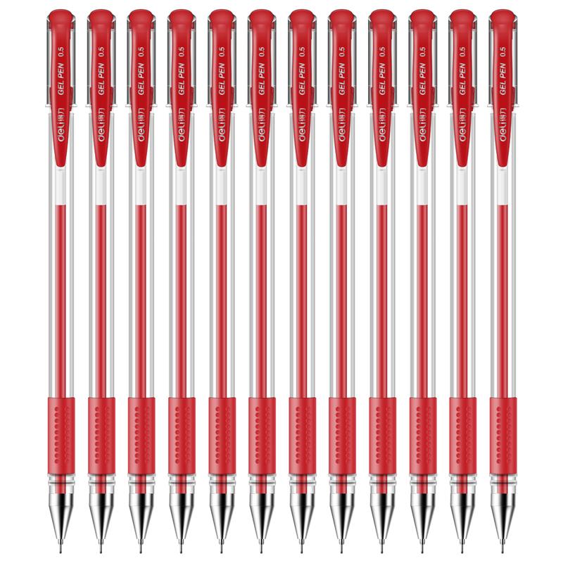 得力中性笔6601 0.5mm半针管(红)(支)
