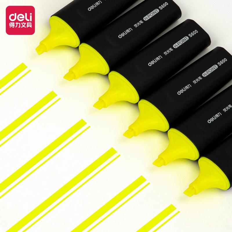 得力 S600 荧光笔 5.0mm 10支/盒(单位:支) 黄