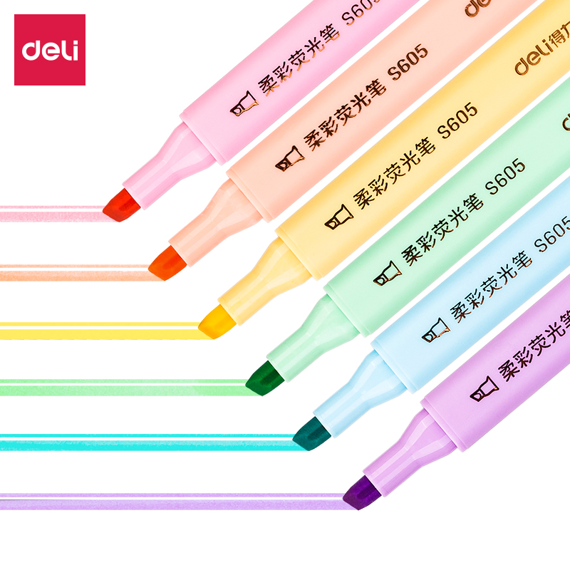 得力S605柔彩三角杆荧光笔(单位:盒)混