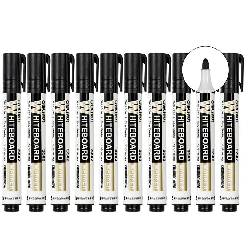 得力 S502 思达可加墨白板笔 2.0mm 10支/盒(单位:支) 黑