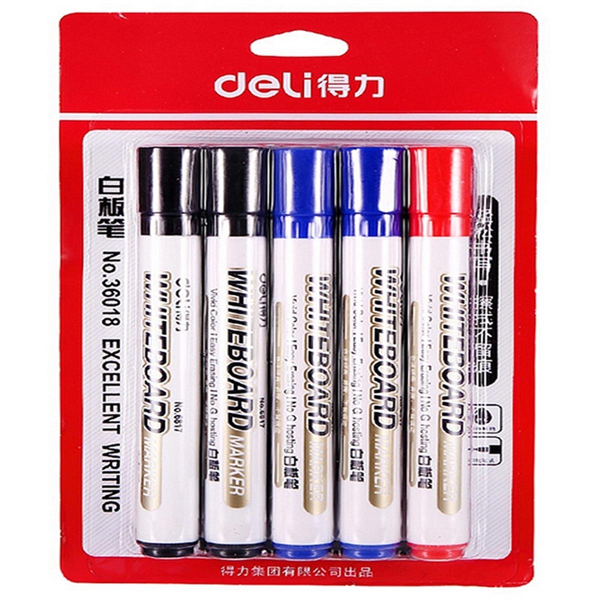 得力 36018 卡装白板笔 2mm 10支/卡 (单位:卡) 红、蓝、黑