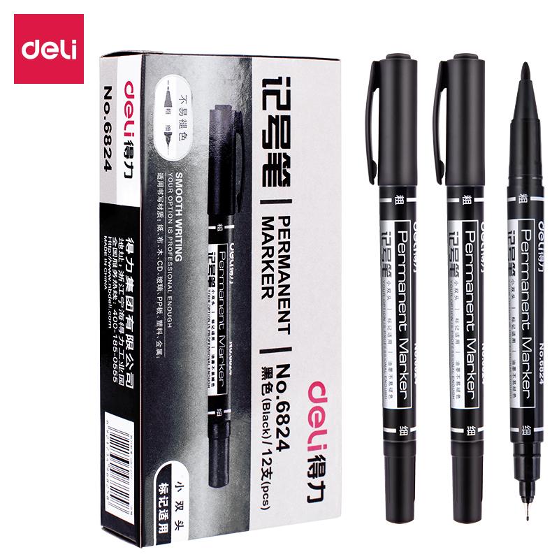 得力 6824 小双头记号笔 1.0-0.5mm  (单位:支) 黑