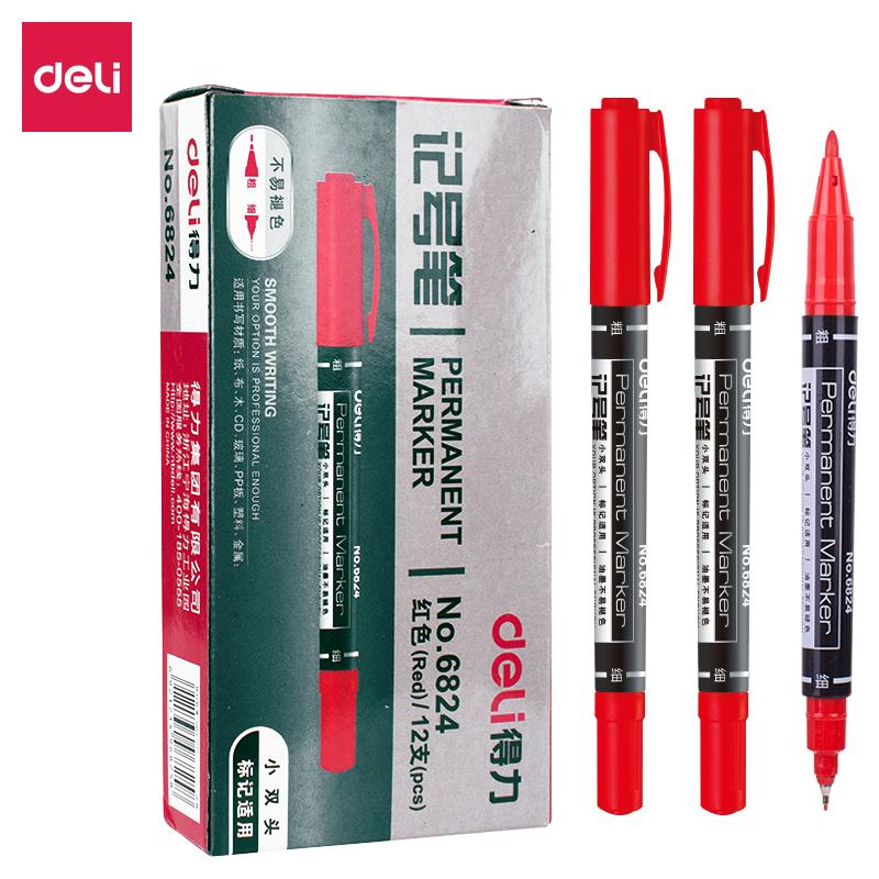 得力 6824 小双头记号笔 0.5mm 12支/盒  红色