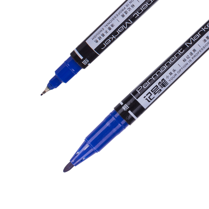 得力 6824 小双头记号笔 0.5mm  (单位:支) 蓝色