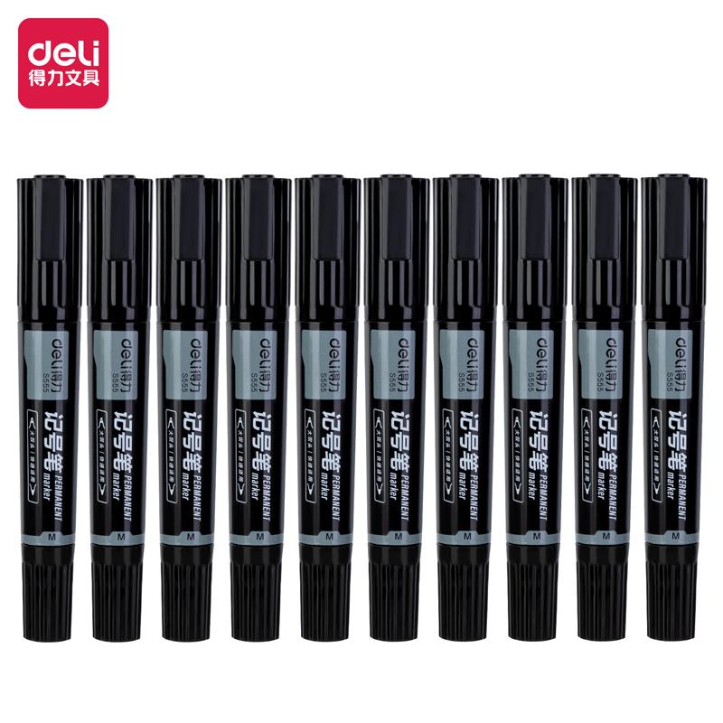 得力 S555 大双头记号笔 1.5-6mm 10支/盒 (单位:支) 黑色
