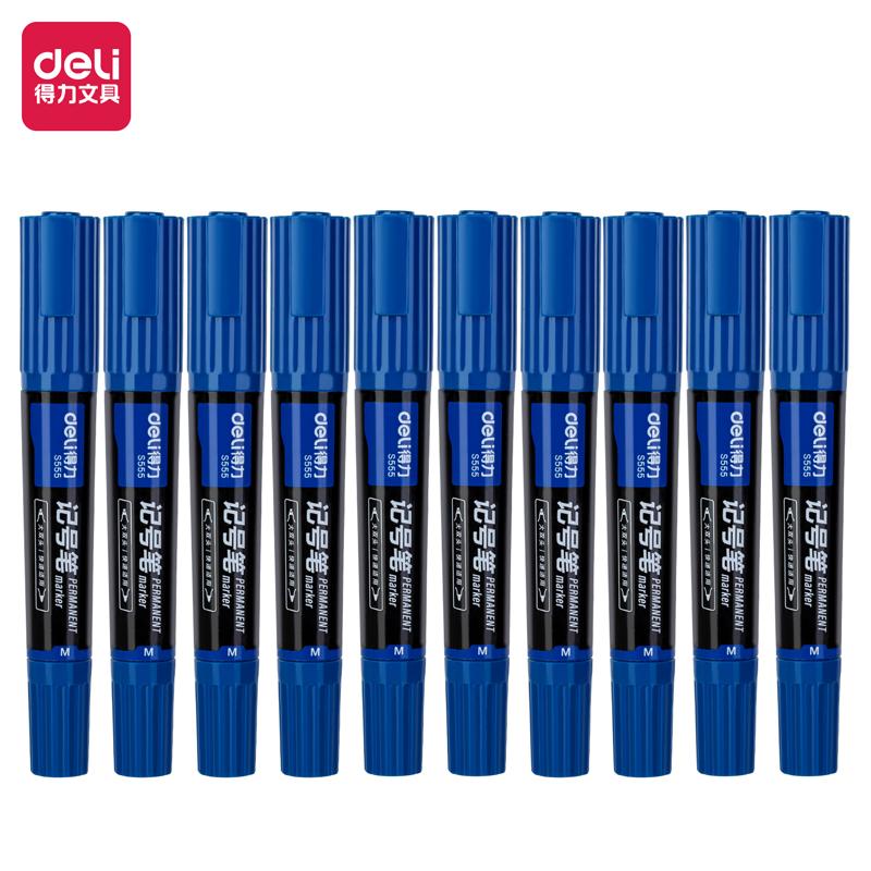 得力 S555 大双头记号笔 1.5-6mm 10支/盒 (单位:支) 蓝色
