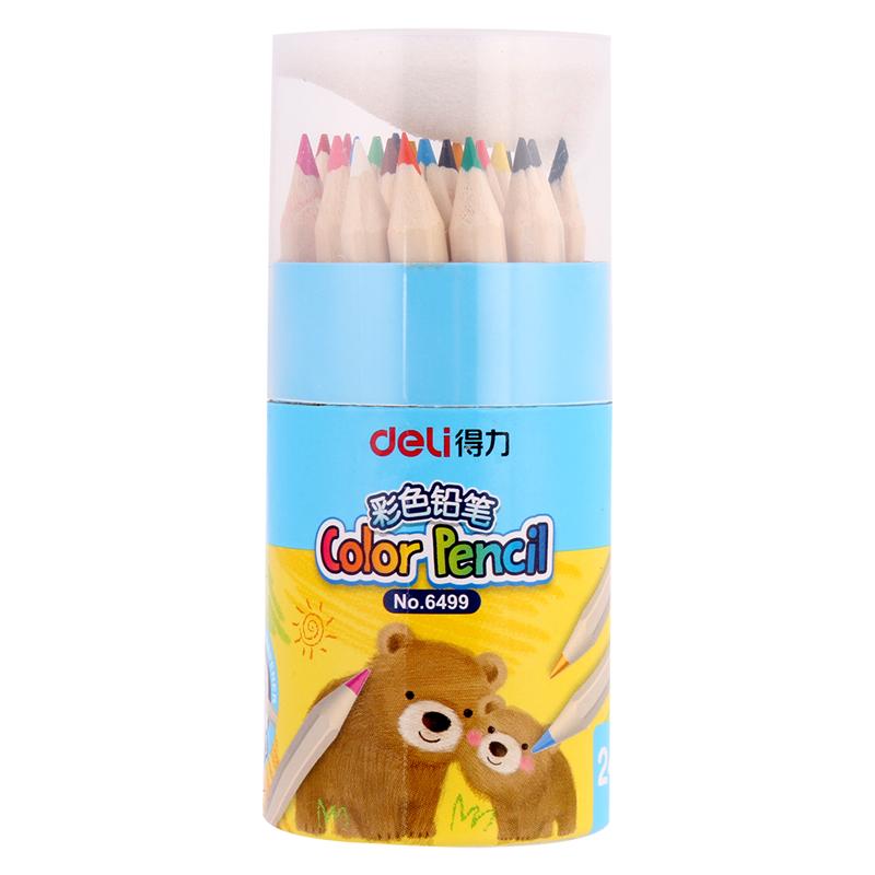 得力 6499 彩色铅笔 笔身长8.8cm,24支/桶 (单位:桶) 24色