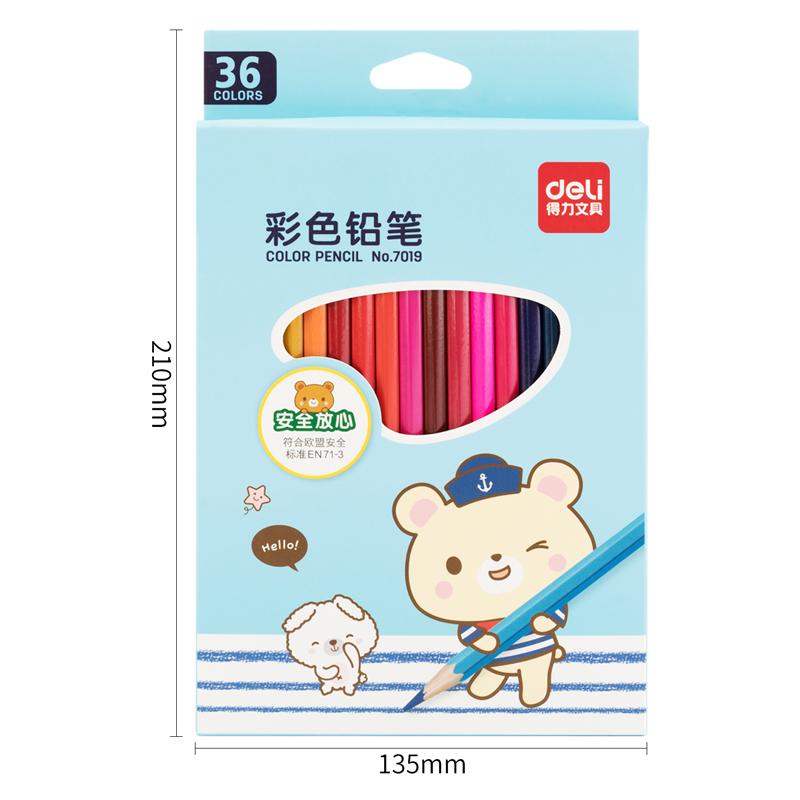 得力 7019 铅笔 36支/盒 (单位:盒) 36色