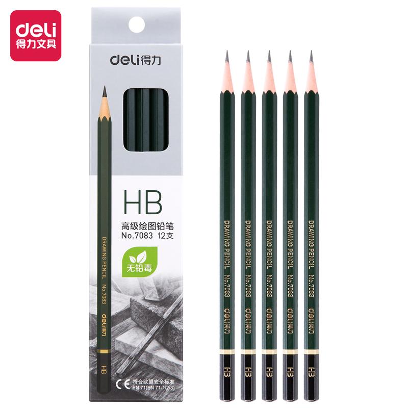 得力 7083 铅笔 HB 12支/盒 (单位:盒) 墨绿