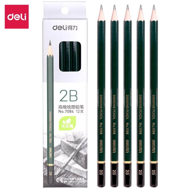 得力 7084 铅笔 2B 12支/盒 (单位:盒) 墨绿