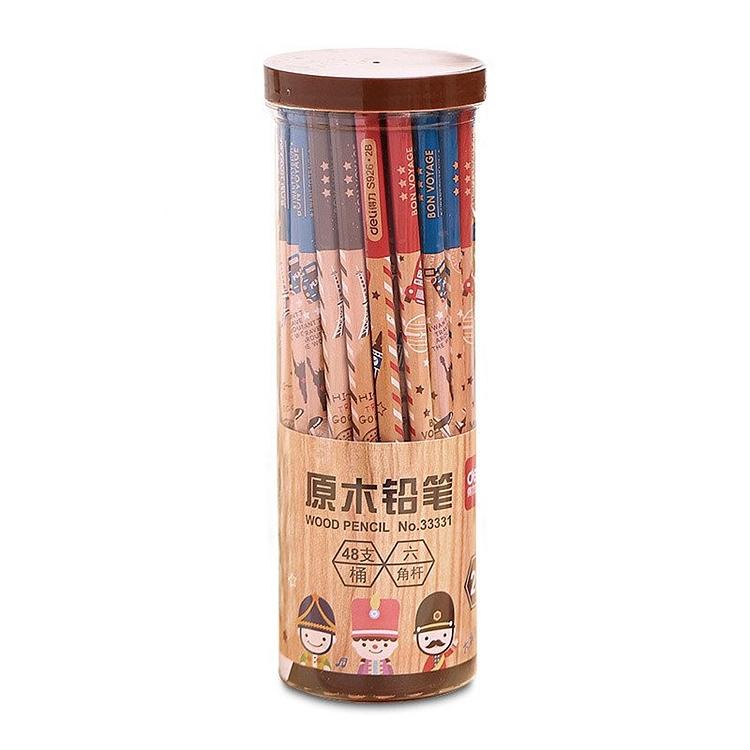 得力 33330 桶装HB铅笔 HB 48支/桶 (单位:桶) 原木色