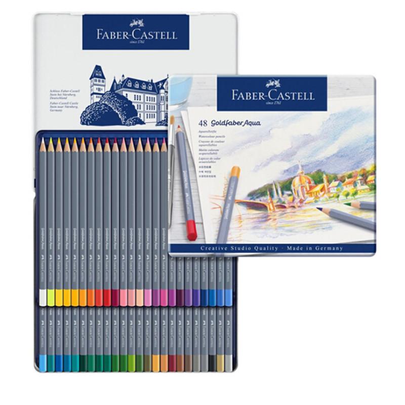 德国辉柏嘉(Faber-castell)水溶性彩铅笔48色专业手绘美术蓝铁盒彩色铅笔Goldfaber Aqua系列114648(盒)