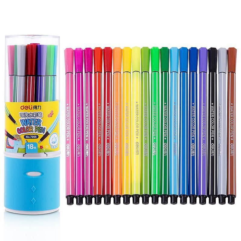 得力(deli)优酷7066 18色水彩笔(单位:桶)包装蓝