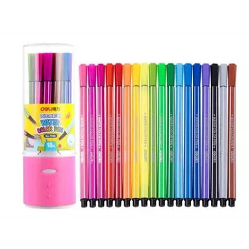 得力(deli)优酷7066 18色水彩笔(单位:桶)包装粉