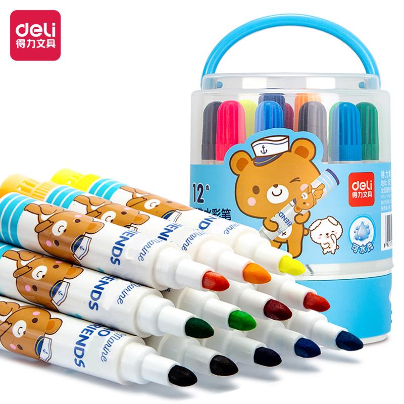得力 6981 水彩笔 12支/桶 (单位:桶) 12色