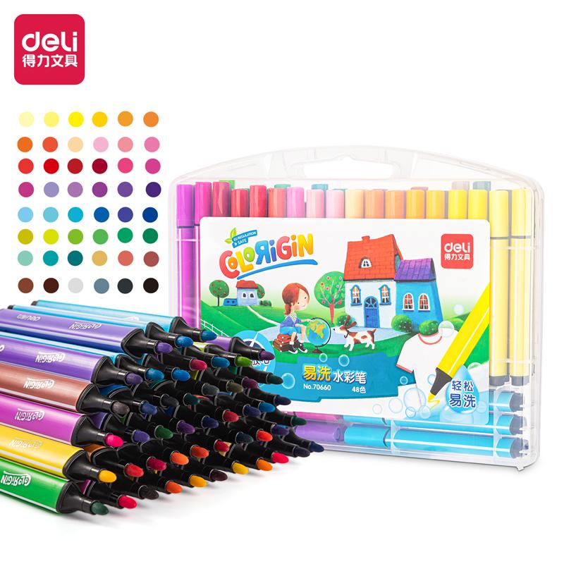 得力 70660 粗三角杆水彩笔 48支/盒 (单位:盒) 48色
