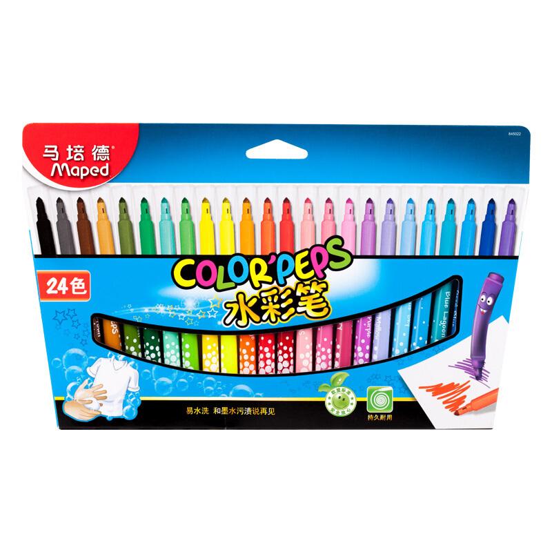 马培德(Maped)儿童易水洗绘画水彩笔 笔帽带透气孔 24色纸盒装 845022CH(单位:盒)