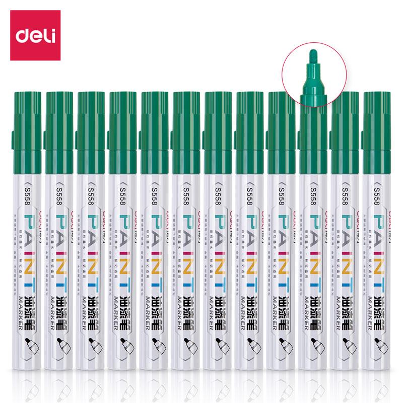 得力 S558 油漆笔 2.0mm 12支/盒 (单位:支) 绿色