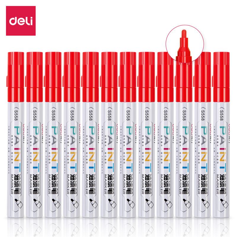 得力 S558 油漆笔 2.0mm 12支/盒 (单位:支) 红