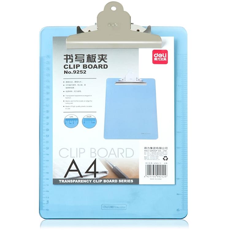 得力 9252 透明书写板夹 (单位:只)A4便携式半透明塑料板夹