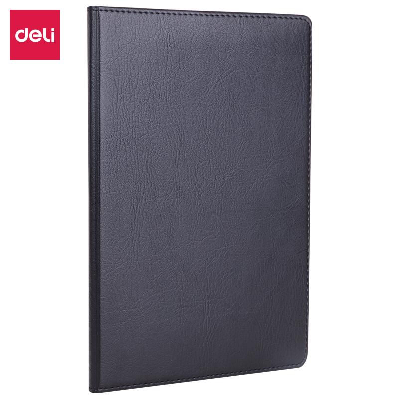 得力7902皮面笔记本(黑)-80页-32K(本)