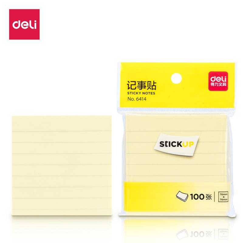得力 6414 学生横线记事贴便签纸便利贴小(单色装) 76x76 (单位:本) 单色