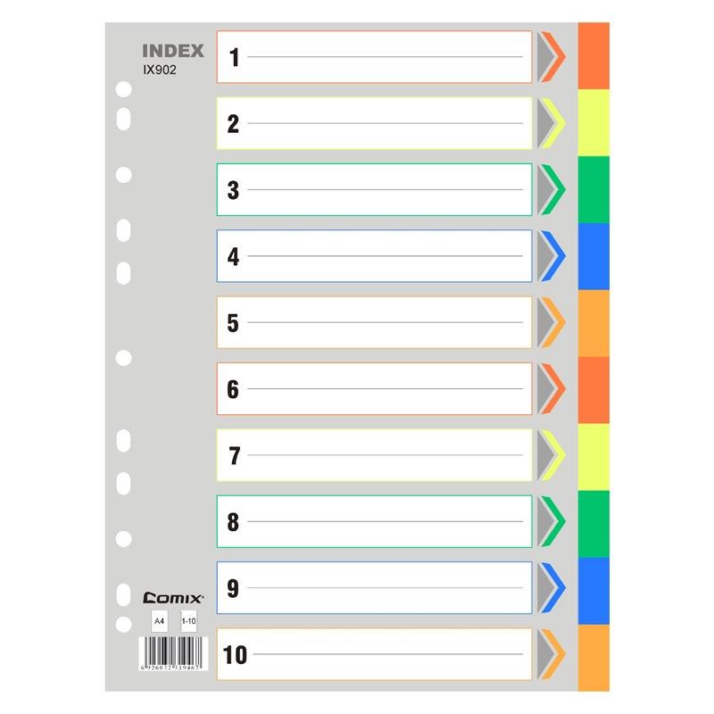 齐心IX902隔页纸10色分类 50张/包(包)