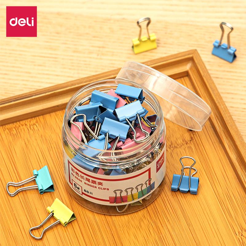 得力8556-6#彩色长尾票夹15mm(筒装)(混)(60只/筒)(筒)