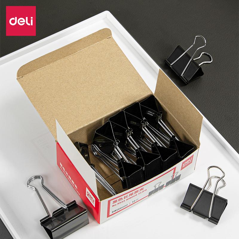 得力9542-2#长尾票夹41mm筒装(黑)(12只/盒)(盒)