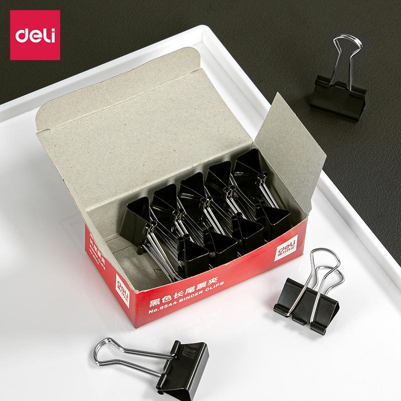 得力9544-4#长尾票夹25mm筒装(黑)(12只/盒)(盒)