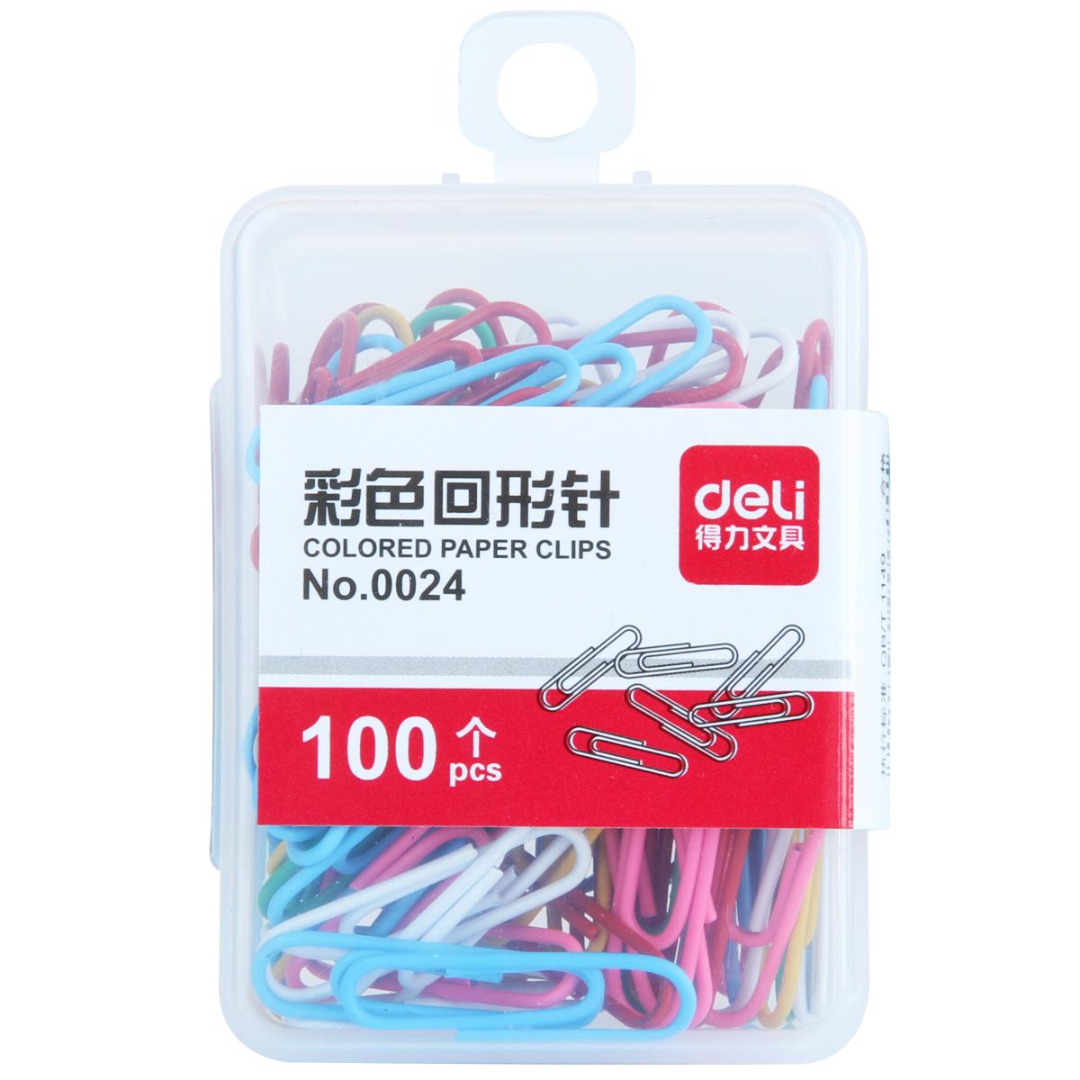 得力 0024 彩色回形针 100枚/盒 (单位:盒)混色