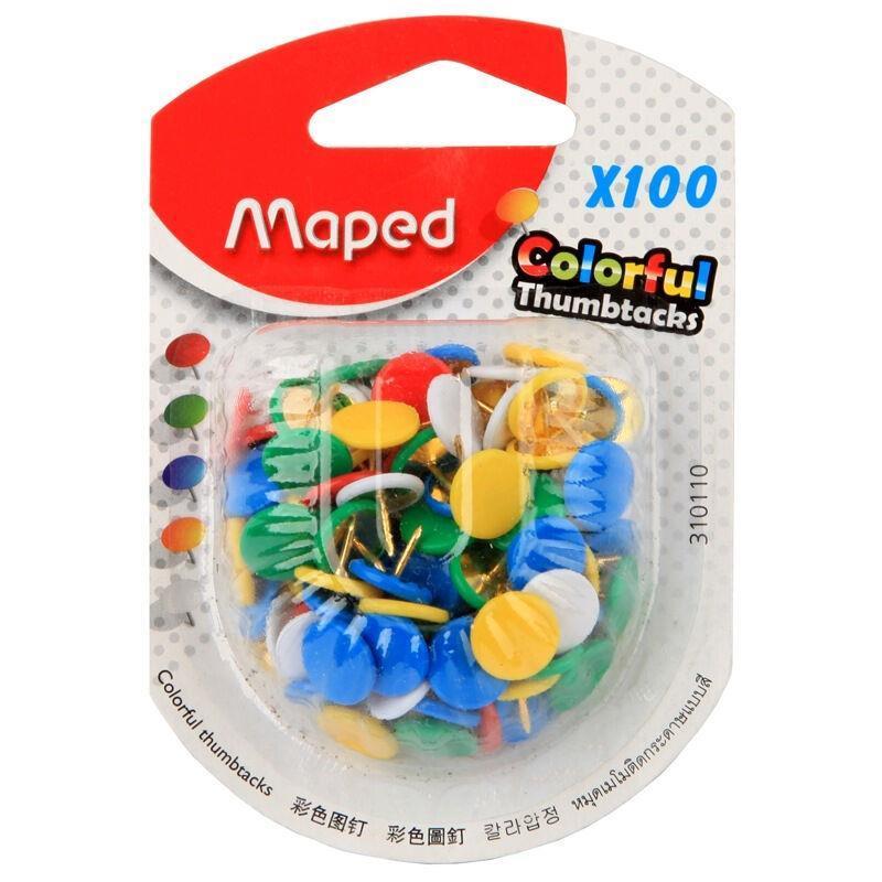 马培德 AA310110 彩色图钉 100枚/盒 (单位:盒) 混色