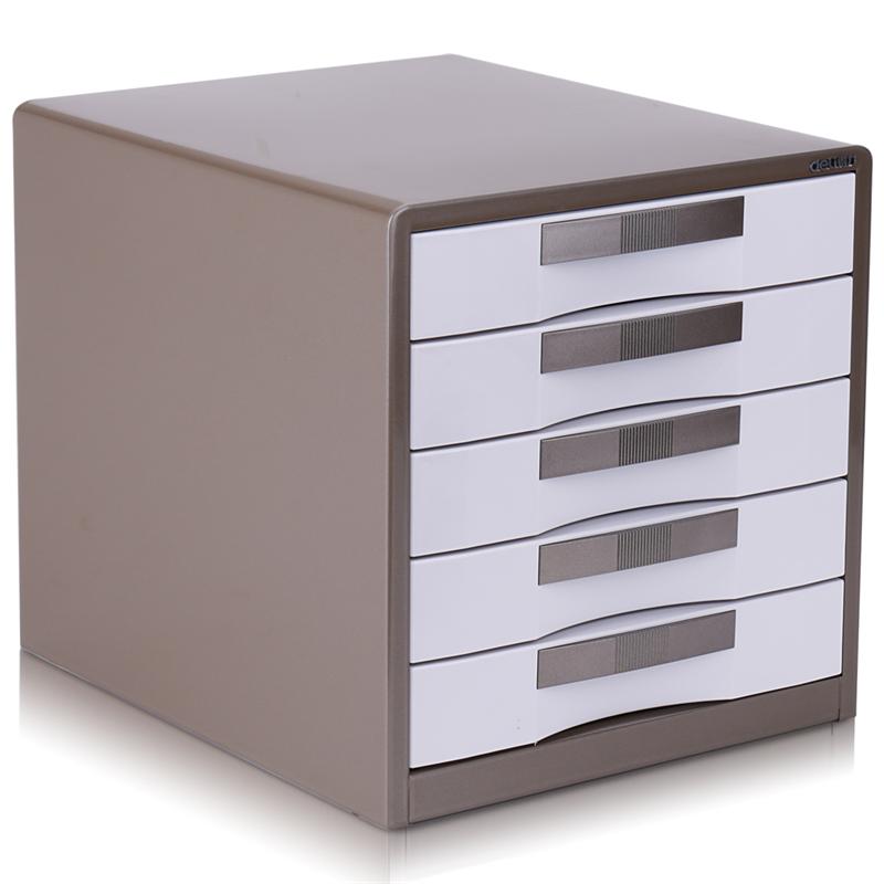 得力 9702 五层金属外壳文件柜桌面文件柜 350x300x308m (单位:只) 闪银棕
