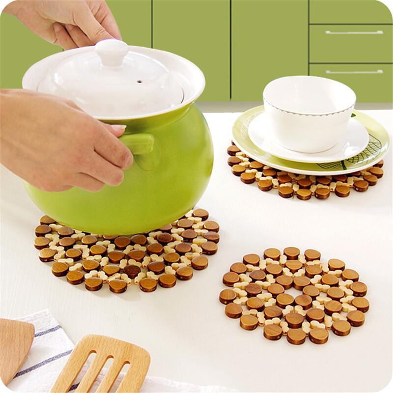 炫依酷 竹制餐垫隔热垫 加厚圆形环保镂空杯垫(个)