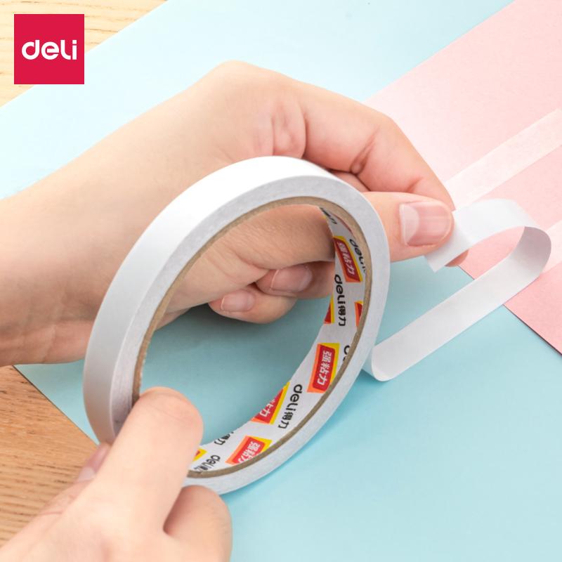 得力30402棉纸双面胶带18mm*10y*80um(白)(16卷/袋)(袋)
