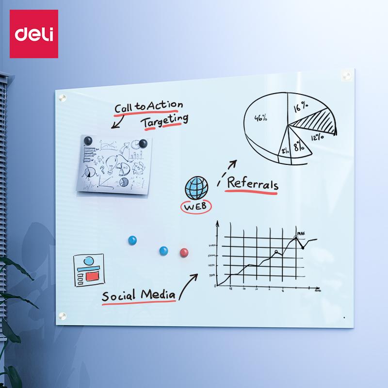 得力8741磁性玻璃白板2000*1000mm(白)(单位:块)