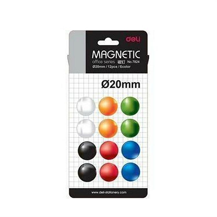 得力 7824 磁钉 直径20mm/12片/6色 (单位:卡) 混色