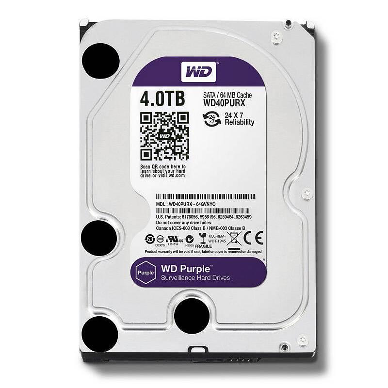 西部数据(WD)紫盘 4TB SATA6Gb/s 64M 监控硬盘WD40PURX)(个)