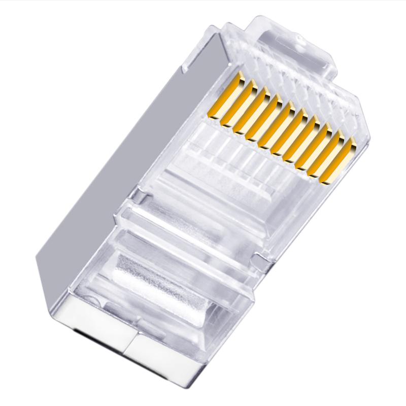 中云智创 RJ4810P10C03 水晶头RJ48屏蔽3U镀金50只/包(包)