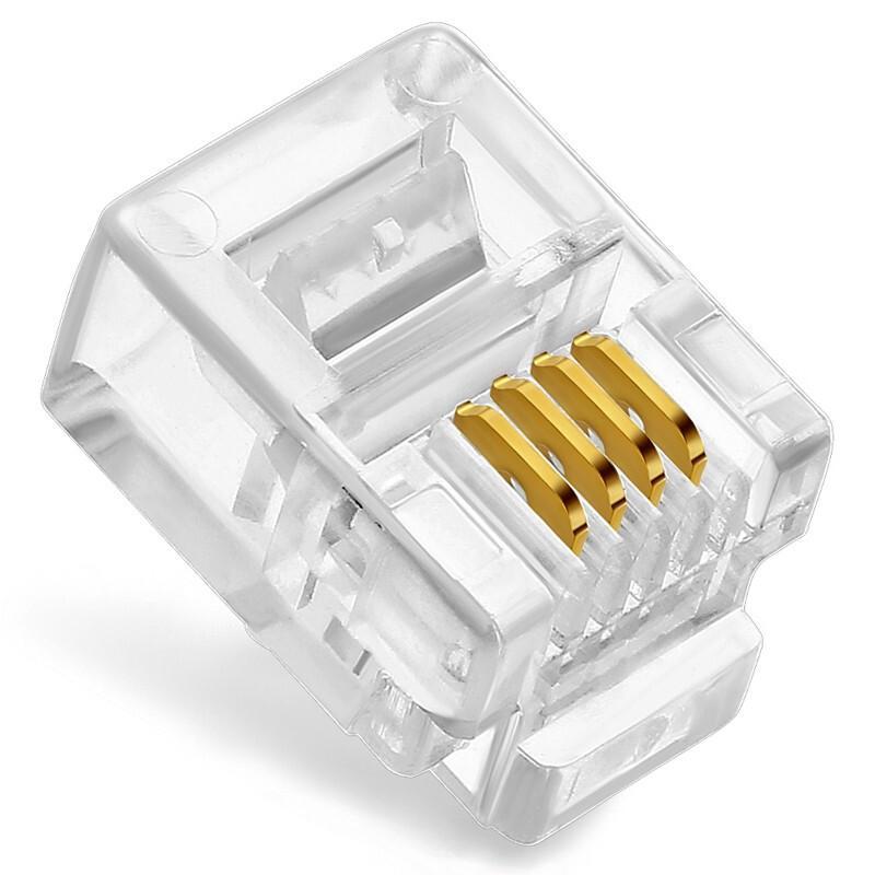 信霆XTCR005 4芯电话水晶头6P4C/RJ11水晶头3U镀金100个/包