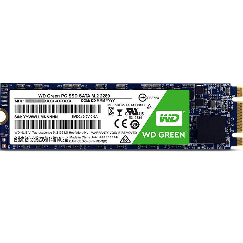 西部数据绿盘WDS120G2G0B固态硬盘120G/M.2接口(SATA协议)(个)