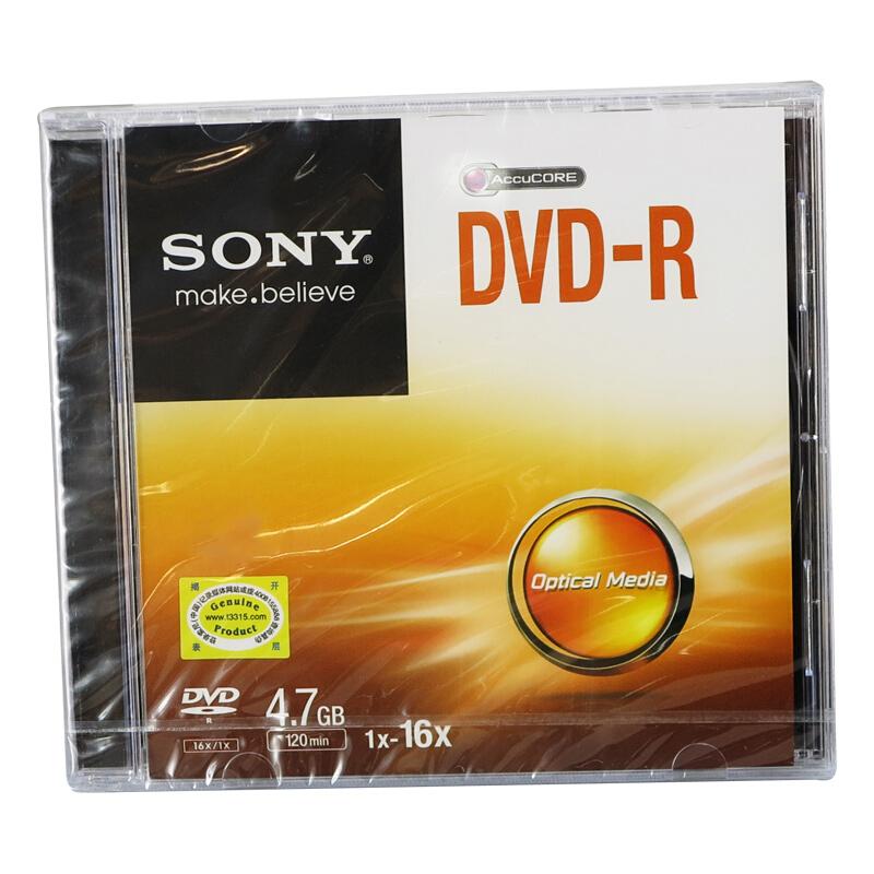 索尼DVD-R/4.7G/1-16X刻录光盘单片盒装(盒)