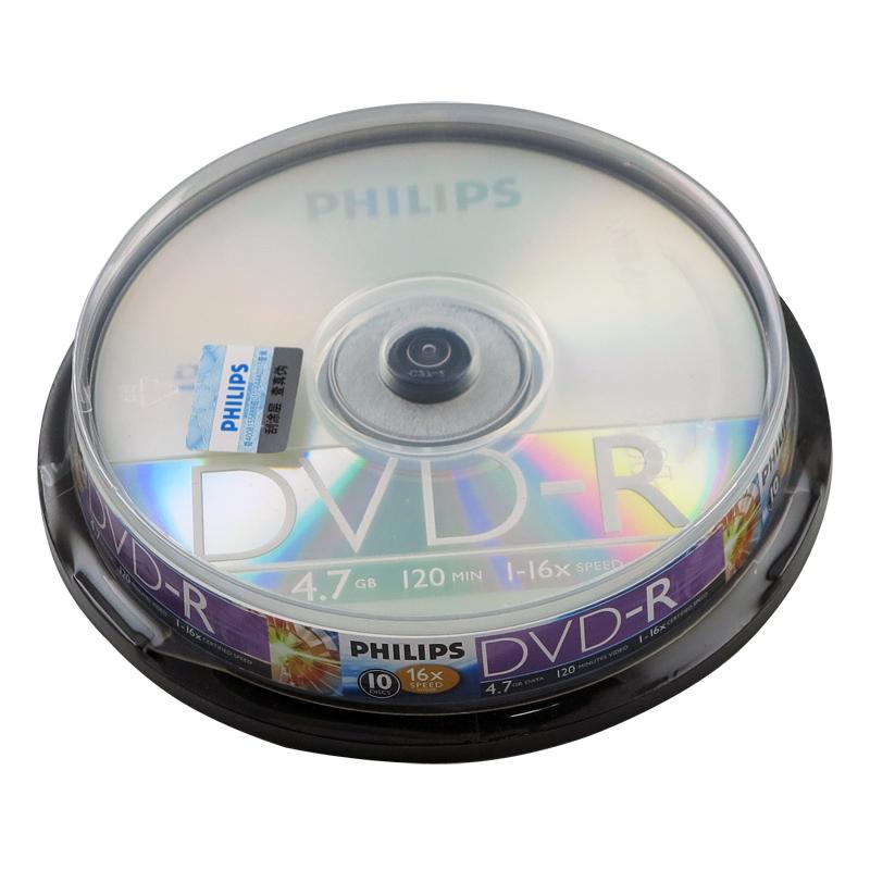 飞利浦4.7GB/DVD刻录光盘 光盘盒10片/盒 (单位:盒)