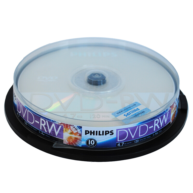 飞利浦DVD-RW可擦写光盘1-4X/4.7G/10片装(盒)